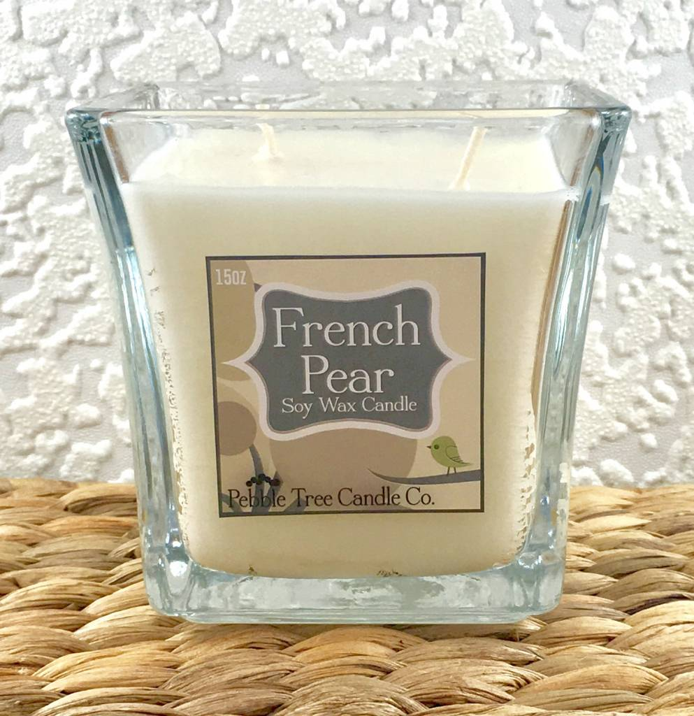 Pebble Tree Candle Co. French Pear - Soy Wax Candle - 15oz Flare