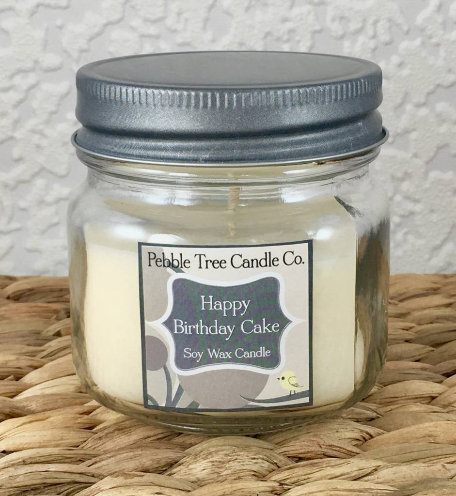 Pebble Tree Candle Co. Happy Birthday Cake Soy Wax Candle - 6oz Mason