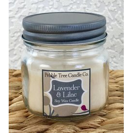 Pebble Tree Candle Co. Lavender & Lilac - Soy Wax Candle - 6oz Mason