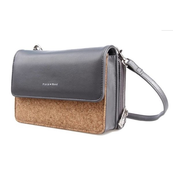 Pixie Mood Jane Crossbody Cork Bag - Grey & Cork