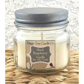 Pebble Tree Candle Co. Black Raspberry Vanilla - Soy Wax Candle - 6oz Mason