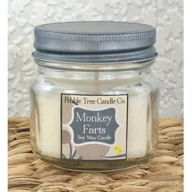 Pebble Tree Candle Co. Monkey Farts - Soy Wax Candle - 6oz Mason