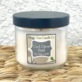Pebble Tree Candle Co. Cool Citrus Basil - Soy Wax Candle - 6oz Round