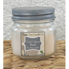 Pebble Tree Candle Co. Cool Citrus Basil - Soy Wax Candle - 6oz Mason