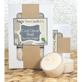 Pebble Tree Candle Co. Cool Citrus Basil - Soy Wax Tealight - Pack of 6