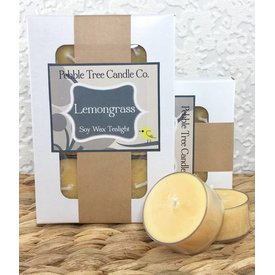 Pebble Tree Candle Co. Lemongrass - Soy Wax Tealight - Package of 6