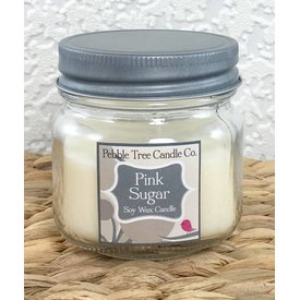 Pebble Tree Candle Co. Pink Sugar - Soy Wax Candle - 6oz Mason
