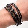 Black Leather Black Steel Skull Bracelet - BRLT35