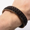 Brown Leather Bracelet with Stitch - Inox - BRLT21