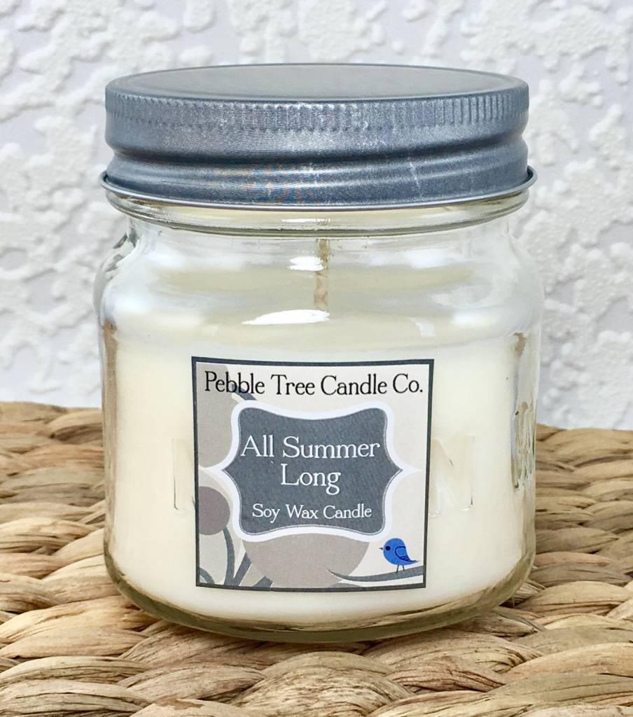 Pebble Tree Candle Co. All Summer Long - Soy Wax Candle - 8oz Mason