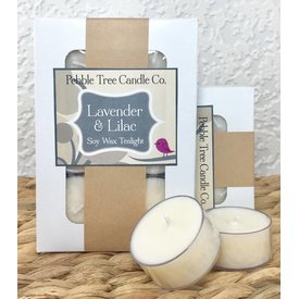 Pebble Tree Candle Co. Lavender & Lilac - Soy Wax Tealight - Package of 6