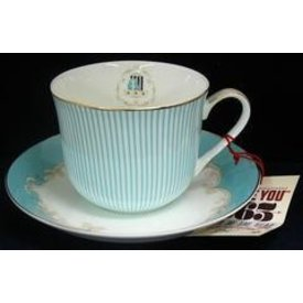 Home Decor Tiffany Stripes Bone China Cup and Saucer Set