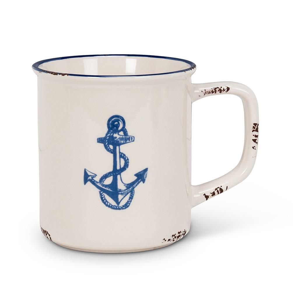 Home Decor Anchor Ceramic Enamel Look Mug
