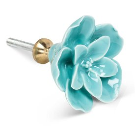 Home Decor Sculpted Flower Drawer Knob - Turquoise