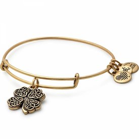 Four Leaf Clover Charm Bangle - Rafaelian Gold - A17EB28RG