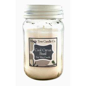 Pebble Tree Candle Co. Cool Citrus Basil - Soy Wax Candle - 16oz Mason