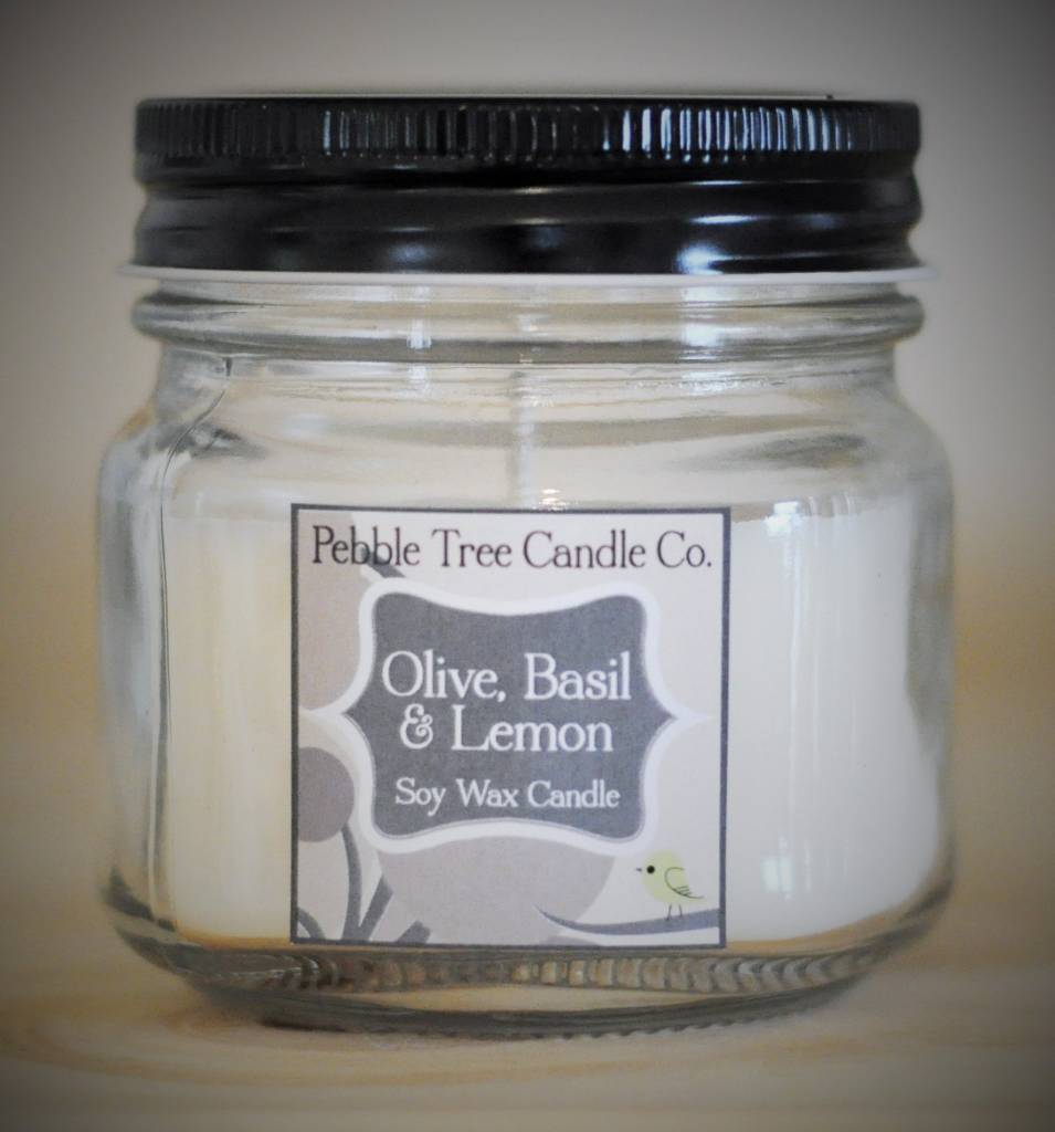 Pebble Tree Candle Co. Olive, Basil & Lemon Soy Wax Candle - 6oz Mason