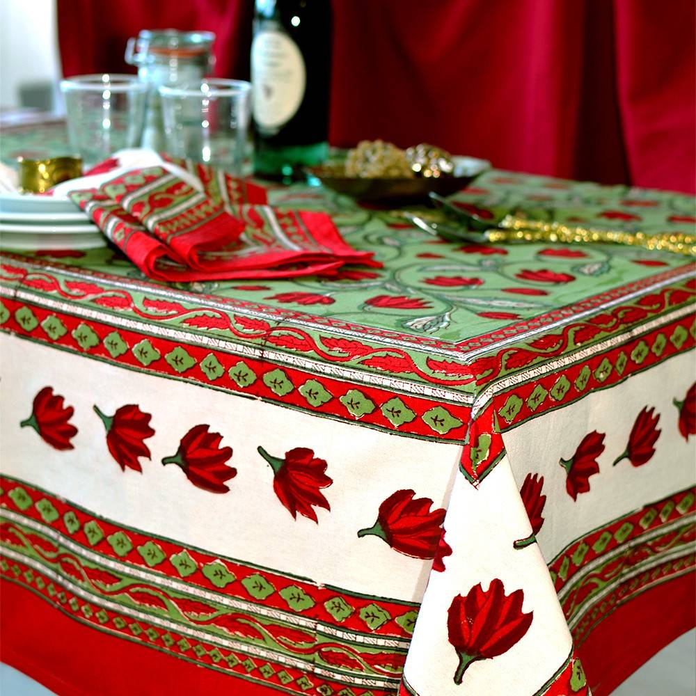 Couleur Nature Crocus Red & Green Tablecloths
