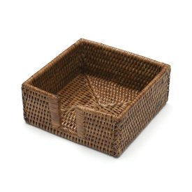 Rattan Cocktail Napkin Holder, Dark Natural