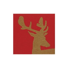 Alpine Stag Paper Linen Cocktail Napkin, Red