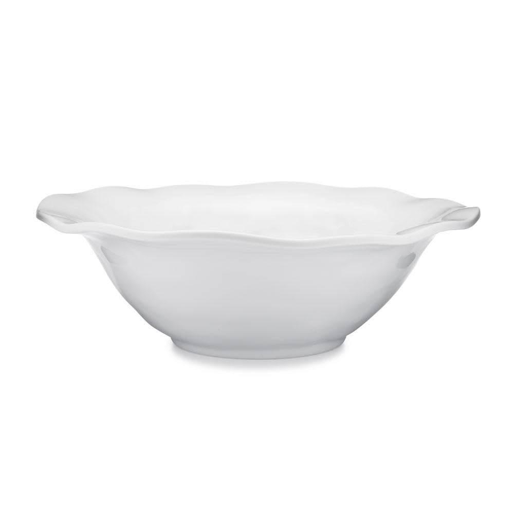 Ruffle White Melamine Round Serving Bowl