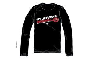 Authentic t-shirt company Chandails dry fit noir à manches longues avec logo Cimes en serigraphie