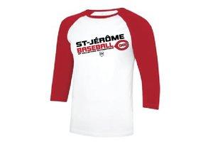 Authentic t-shirt company Chandail Authentic undershirt dry fit manches 3/4 rouge avec logo Cimes en serigraphie