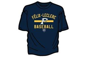 T-Shirt dry fit Félix-Leclerc Baseball bleu marine