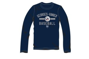 Authentic t-shirt company Chandail manches longues dry fit Georges-Vanier Baseball navy