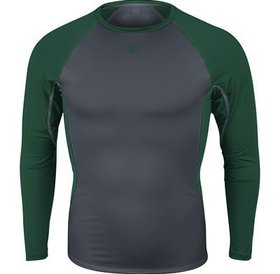 Majestic Majestic Mens Premier Warrior Fitted Long Sleeve Baselayer - Granite/Dark Green