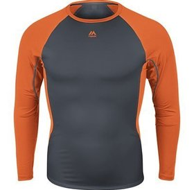 Majestic Majestic Youth Premier Warrior Fitted Long Sleeve Baselayer youth - Granite/Orange