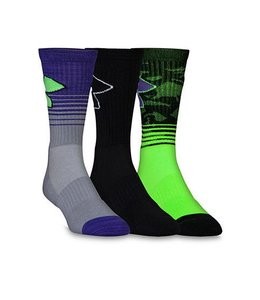 Under Armour Under Armour Phenom Performance Socks (3pack)  Youth Large HyperGreen/Purple/Black 1-4