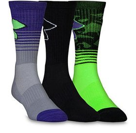 Under Armour Under Armour Phenom Performance Socks (3pack)  Youth Large HyperGreen/Purple/Black 1-4