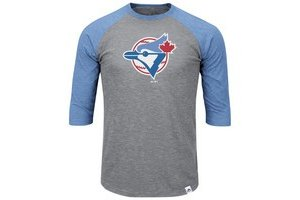Majestic Majestic Blue Jays Two to one margin 3/4 sleeve