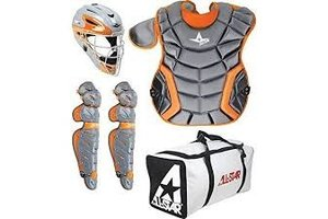 All Star All-Star System 7 Elite Travel Team Catching Kit Graphite-Orange 9-12
