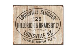 On Field OF Louisville Slugger Logo Metal Sign poster