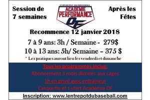 Academie de baseball performance EDB-On Field 7 a 9 ans - Periode apres-Noel
