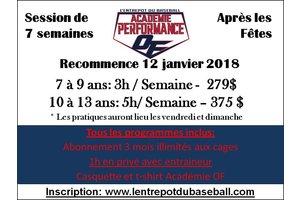 Academie de baseball performance EDB-On Field 10 a 13 ans - Periode apres-Noel