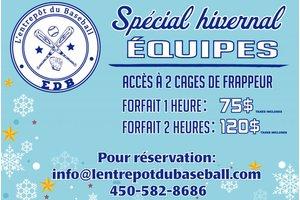 Spécial hivernal équipes - location 2h (2 cages pour 120$)