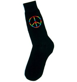Foot Traffic Mens Rainbow Peace Sign Socks