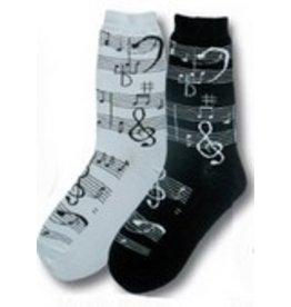 Foot Traffic Womens Music Notes Socks BLK