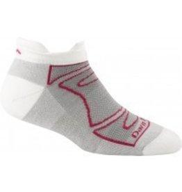 Darn Tough Womens Merino Wool No Show Ultra Light Cushion White/Fushsia