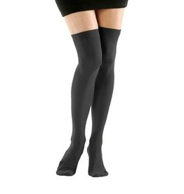 Foot Traffic Solid Opaque Thigh High Graphite