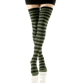 Foot Traffic Solid Opaque Thigh High Black and Olive Stripes