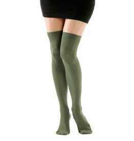 Foot Traffic Solid Opaque Thigh High Olive