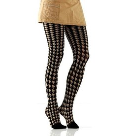 Foot Traffic Houndstooth Tights Black & Tan