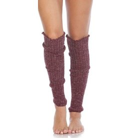 Foot Traffic Cable Knit Leg Warmers Burgundy