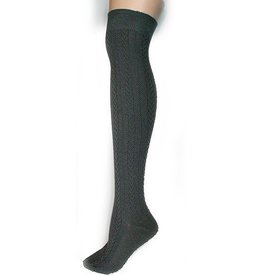 Foot Traffic Cable Knit Over The Knee Grey Socks