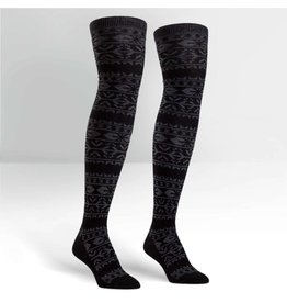 Sock it to Me SITM OTK Black & White Alpine Knit Socks