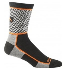 Darn Tough Men's Herringbone Micro Crew Ultra Light Black Orange